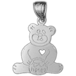 925 sterling silver teddy bear with honey jar charm