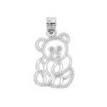 925 sterling silver outlined teddy bear charm