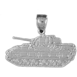 925 sterling silver military tank charm pendant