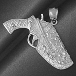 925 sterling silver gun in holster charm pendant