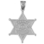 925 sterling silver sheriff badge charm pendant