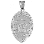 925 sterling silver 26mm justice department badge charm pendant