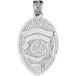 925 sterling silver justice department badge charm pendant