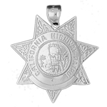 925 sterling silver 36mm california highway patrol badge charm pendant