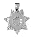 925 sterling silver engraveable sheriff badge charm pendant