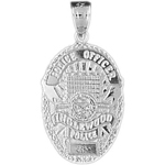 925 sterling silver inglewood police officer badge charm pendant