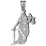 925 sterling silver lady of justice charm pendant