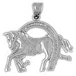 925 sterling silver equestrian horse in horseshoe charm pendant