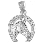 925 sterling silver horse head horseshoe charm