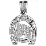 925 sterling silver horse head in horseshoe charm
