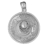 925 sterling silver 3d mexican hat with floral brim charm pendant