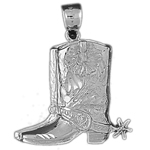 925 sterling silver western pair of cowboy boots charm pendant