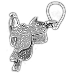 925 sterling silver 3d saddle charm