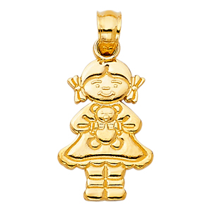14k gold girl with bear charm