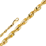 14k gold 4.5mm solid diamond cut rope chain
