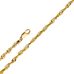 14k gold 2mm solid diamond cut rope chain