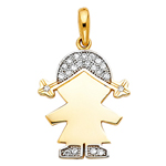 14k two tone gold cz girl charm