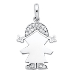 14k white gold cz girl charm