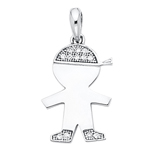 14k white gold cz boy charm