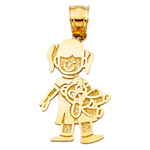 14k gold girl with doll charm