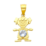 14k gold cz march birthstone girl charm