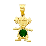14k gold cz may birthstone girl charm