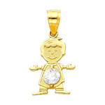 14k gold cz april birthstone boy charm