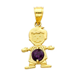 14k gold cz february birthstone boy charm
