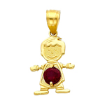 14k gold cz january birthstone boy charm