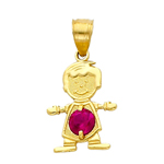 14k gold cz july birthstone boy charm