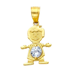 14k gold cz march birthstone boy charm
