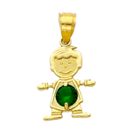 14k gold cz may birthstone boy charm