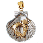 14k two tone gold mermaid & dolphin in a seashell pendant