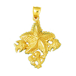 14k gold starfish with octopus and fish accent pendant