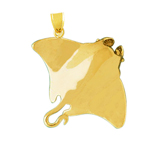 14k gold 3d sculpted stingray pendant