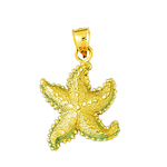 14kt gold starfish sea life pendant