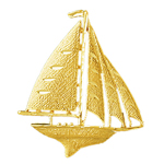 14k gold 42mm sailboat charm pendant