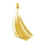 14k gold 32mm sailboat charm pendant