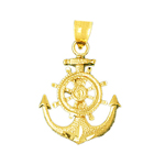 14k gold ship wheel and anchor charm pendant