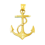 14k gold ship rope and anchor charm pendant