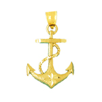 14k gold 25mm ship rope and anchor charm pendant