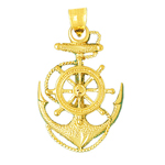 14k gold ship wheel, rope and anchor charm pendant