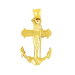 14k gold sailor rope, cross and ship anchor charm pendant