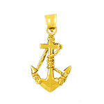 14k gold 3d ship anchor charm