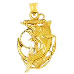 14k gold marlin fish caught in ship anchor charm pendant