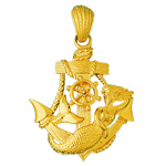 14k gold mermaid and sailor ship anchor charm pendant