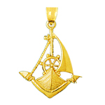 14k gold single mast sailboat charm pendant