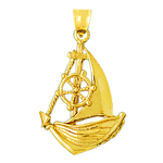14k gold catboat with ship wheel pendant