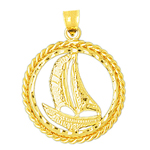14k gold sailboat charm pendant with encircled rope frame