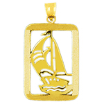 14k gold sailboat charm pendant with rectangle frame